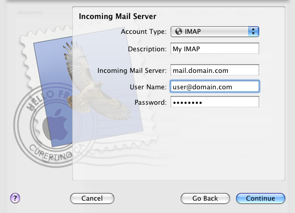 4. Enter or select the correct Incoming Mail Server Details and click Continue. Select IMAP for the account type.