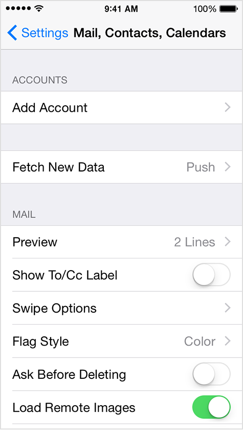 3. Tap Add Account to add a new email account.