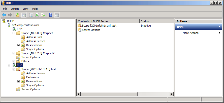 Built-in to DHCP Server service IPv6 node in the console