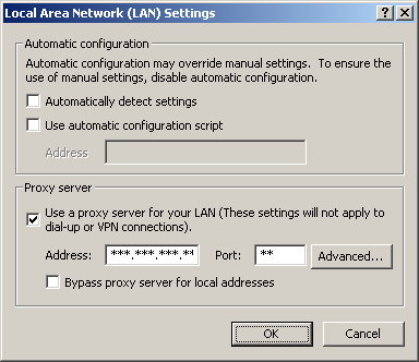 3. Click the [Connections] tab, and click [LAN Settings]. 4. See if the Use a proxy server check box is checked or not. If checked, click [Advanced...]. See if the check box is checked or not.