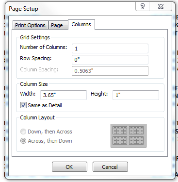 9. From the Page tab, select Landscape as the Orientation. 10. Select Size as Envelope #10. 11. When completed, select the Columns tab. 12.