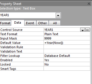 4. The Properties box is displayed. 5. Select the Data tab. Edit the Default Value. Remove the current value =Year(Now()). 6. Type the year 2014 or whatever year is to be used in the Default Value. 7.