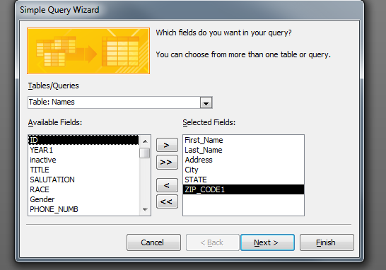 10. From the Available Fields list select the fields to be used in the query. 11.