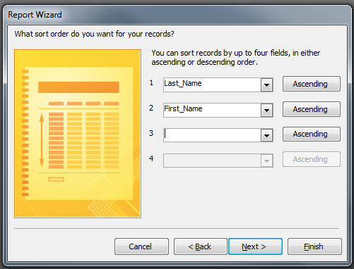 11. From the What sort order do you want for your records? screen select the fields to sort by. 12. Select NEXT. 13.
