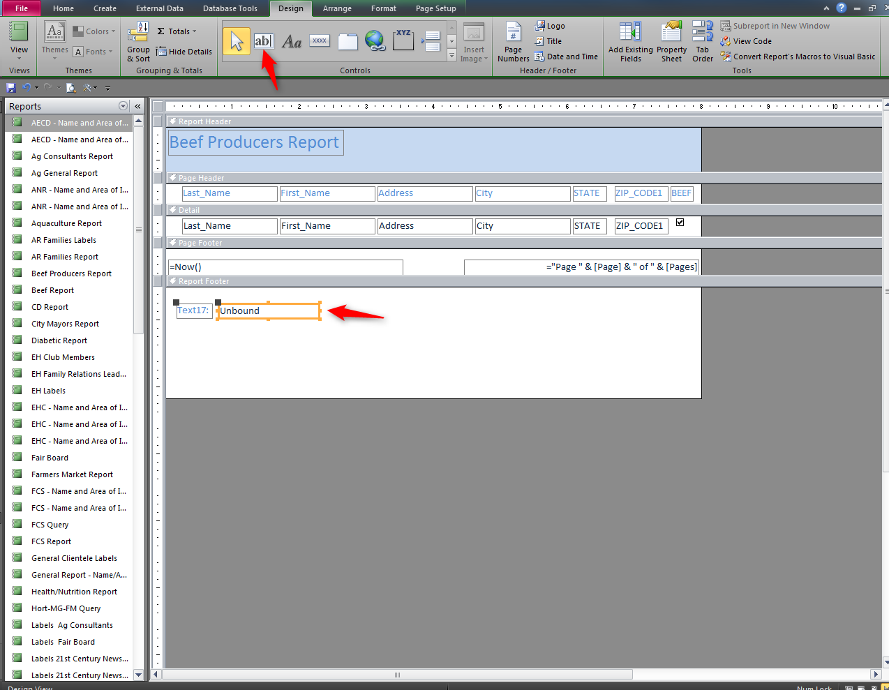 22. Select the Text box and place box in the Report Footer. Move the cursor to the Report Footer and left select. 23.