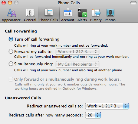 Lync Basics Forward a call You can set up call forwarding and simultaneous ring so your calls don t get missed. Do any of the following: 1. On the Lync menu, click Preferences. 2.
