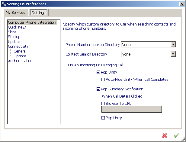11.2 Settings 11.2.1 Computer/Phone Integration Phone Number Lookup Directory Provides a name match on an inbound call against an external database.