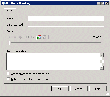 The Greetings folder contains three sections: The Greetings list. Your existing greetings appear here. The Notes Pane. This pane displays the contents of the greeting.