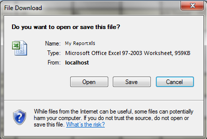 File Download Screen Click on button or to open or save the Incident Details Report.