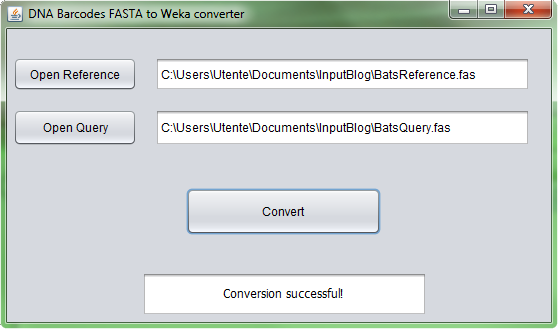 Fasta to Weka Converter You can download and unzip an integrated multi-platform (Windows, Linux and MacOS) Java software FASTA to Weka converter from dmb.iasi.cnr.it/supbarcodes.php ( fasta2weka.