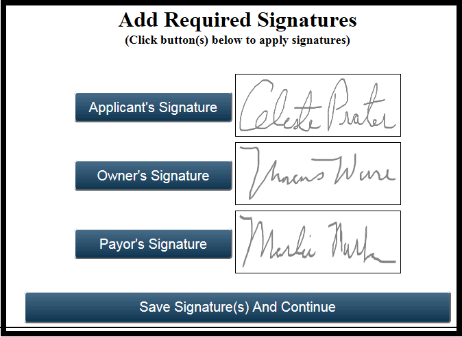 12 Add Signature(s) Cont. Signature(s) Preview and Completion. 5. The electronic signature(s) will display in each box.