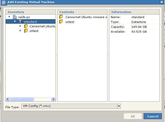 Figure 6 Virtual Machine Inventory dialogue By default the only inventory you will have is the standard inventory, as shown.