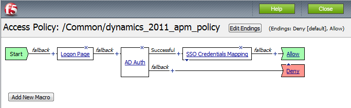11. Click the Deny link in the box to the right of SSO Credential Mapping. 12. Click Allow and then click Save. Your Access policy should look like the example below. 13.