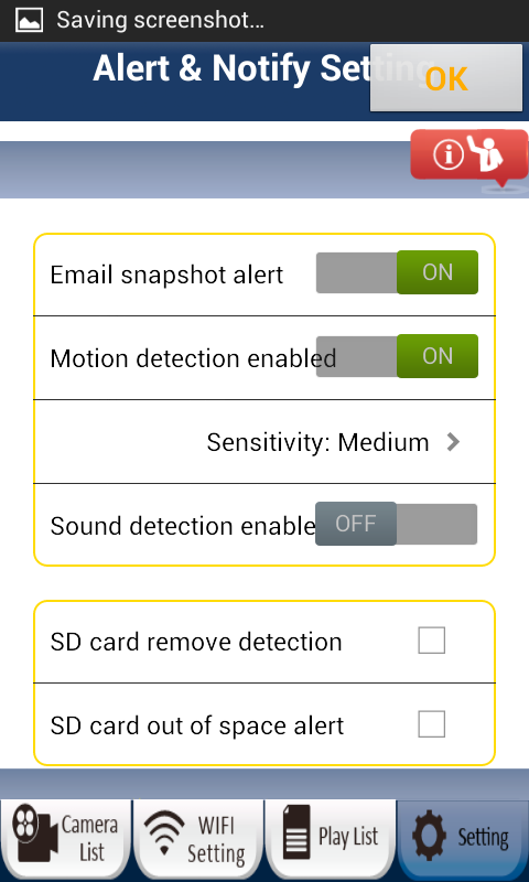Set Email Alerts To setup your email to receive motion/sound/etc. alerts, please login to the Settings page with Manager name and password (default: admin/0000).