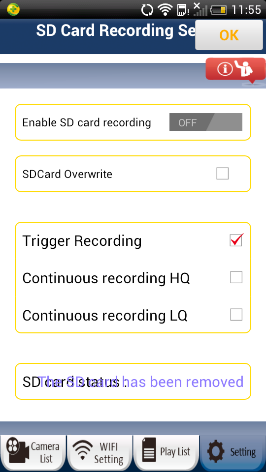 4) SD Card Recording Setting User can insert a microsd card into the camera to enable the recording function.