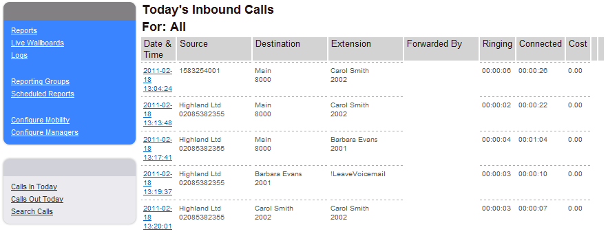 Destination Number = this column will display the extension number of the User or Department the call was made to.