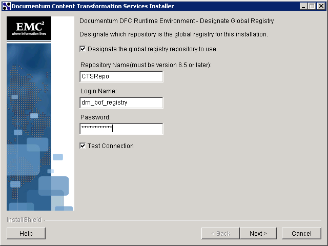 In the DFC Global Registry designation screen select Designate the global registry repository to use.