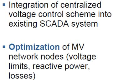 Centralized MV Volt/Var Control Integration of decentralised small hydro power plants into the control system Extension of the existing