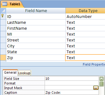Microsoft Access 007 - Module I Use Input Mask Wizard The Input Mask Wizard allows the designer to define the format for entering data. In this example, a format is set for entering a zip code.
