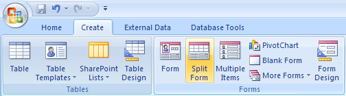 Microsoft Access 007 - Module I Create a Form: Split Form With some tasks, it may be helpful to view the form and the datasheet simultaneously.