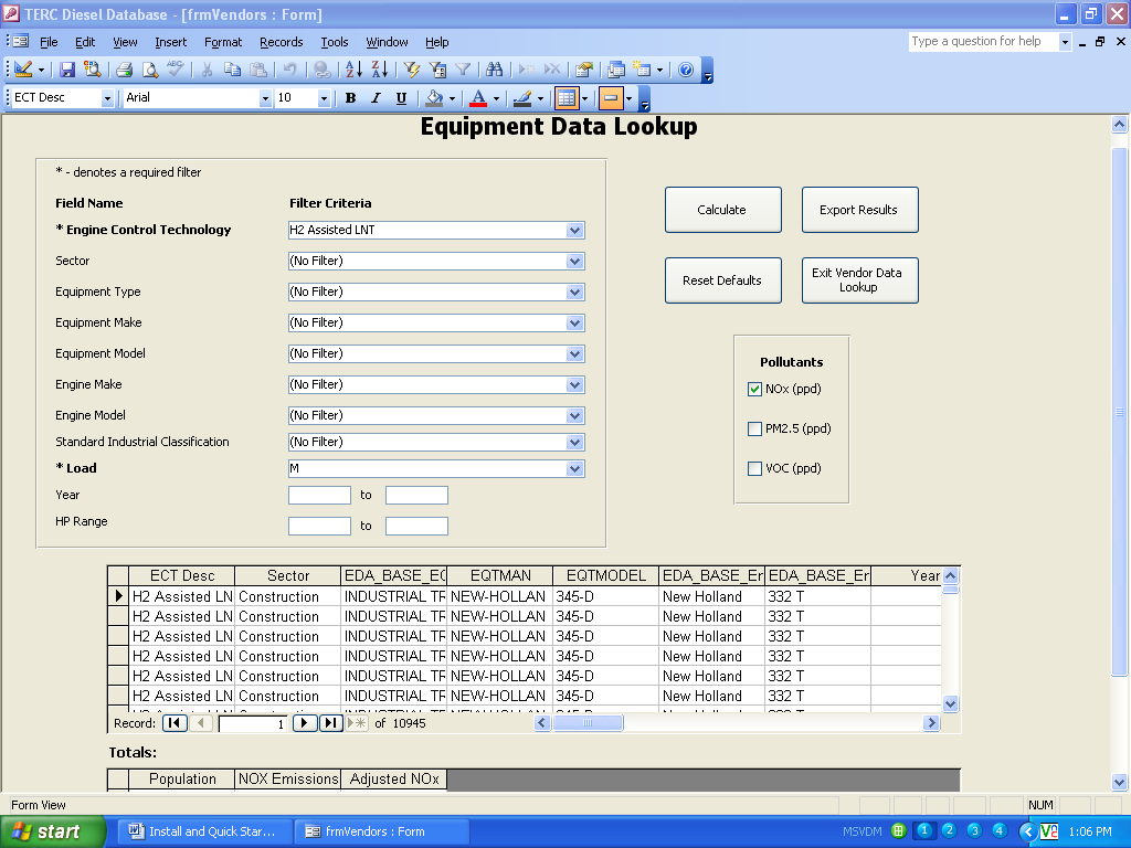 Figure 3. Equipment Data Lookup Once the report is run, a user may export the report to an Excel file by clicking on the Export Results button.