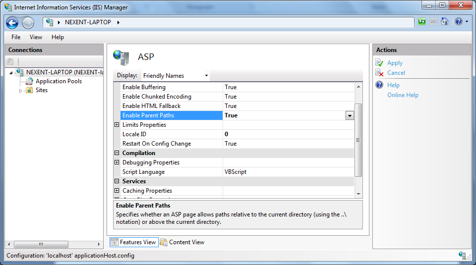 Double Click the ASP feature to open the ASP feature window. Set the Enable Parent Paths to True and click Apply.