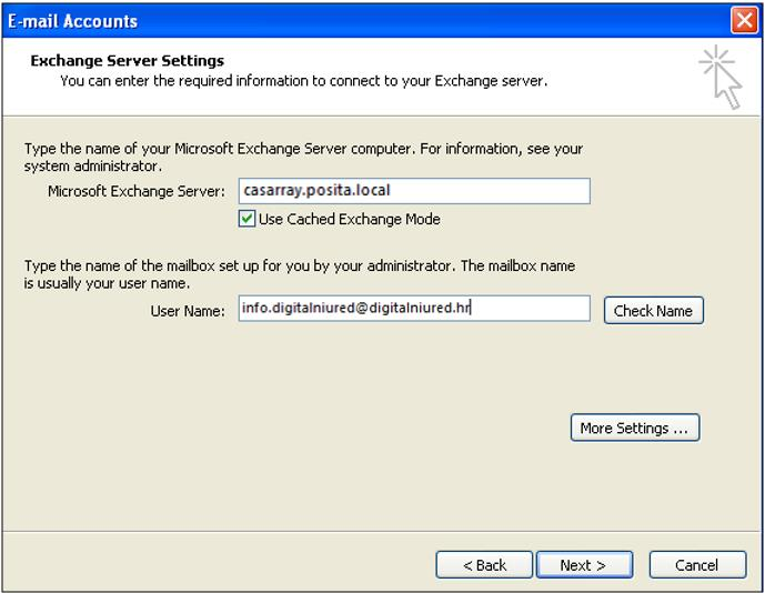 After click on OK button, window Microsoft Exchange Server General will pop out, click OK again.