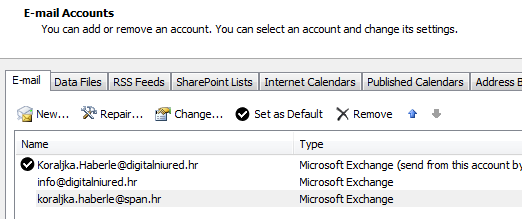 1.3 OUTLOOK 2010, 2013 CONFIGURING ADDITIONAL MS EXCHANGE E-MAIL ACCOUNT IN THE SAME PROFILE MS Outlook 2010 and 2013 supports having many Exchange account inside one Outlook profile.
