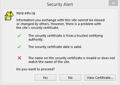 If you get a security alert prompt as show at the bottom right, please click on Yes. Step 5.