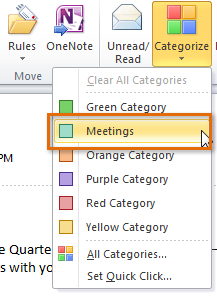 Select the desired message, then click the Categorize