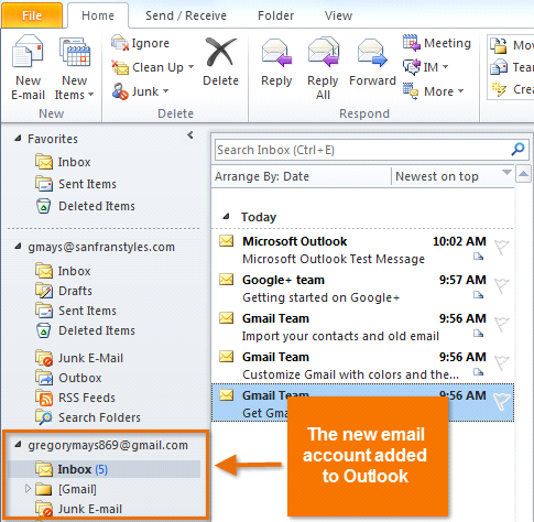 The added email account The first time you open Outlook on your home computer, the Add New Account dialog box will appear immediately.