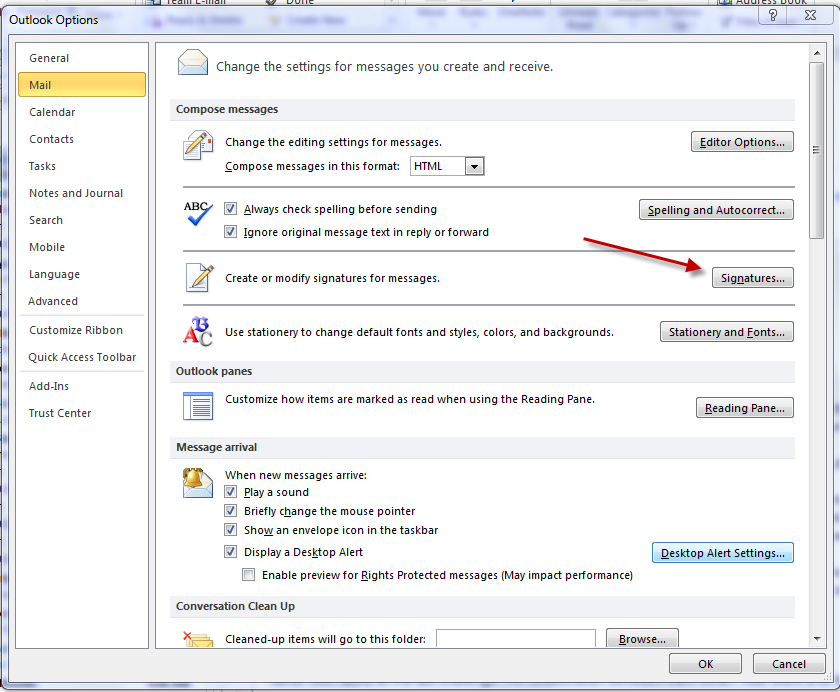 3. Create User s email signatures. Open Outlook 2010 and click on the File tab at the top of the main page, and then select options to open Outlook Options panel.