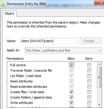 4. Click Change Permissions. 5. Select the Users entry (add one if not present). 6.
