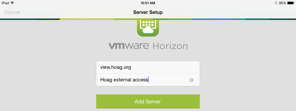 5. You will be taken directly to the Add Server screen. Enter view.hoag.