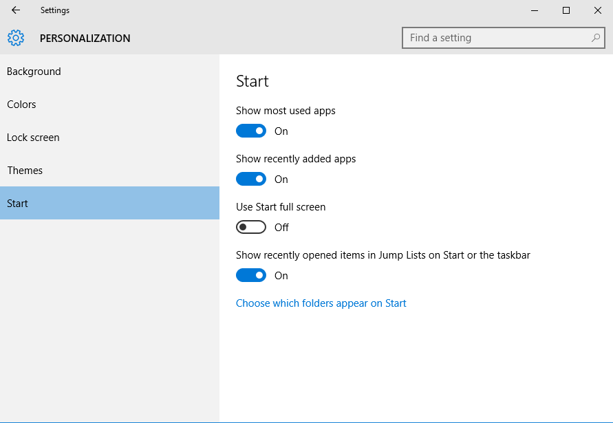 By default, all of the options are enabled with the exception of Use Start full screen. This option is for those who prefer the look of Windows 8, or if you are using a Surface or other mobile device.