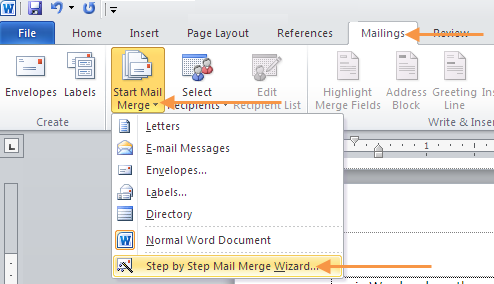 10. USE CONTACTS FOR A MAIL MERGE IN WORD Use Microsoft Word to make a mail merge using a list of email addresses that you have saved in an Excel document.