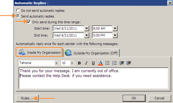 The default screen shows automatic replies for Inside My organization. To turn on the Out of Office Assistant, check Send Out of Office auto messages.