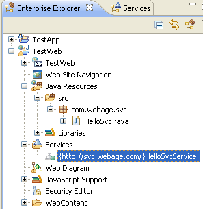This Services node lists all web services located in this web project. Notice that it has located the HelloService service, and is listing it here accordingly, as {http://svc.webage.