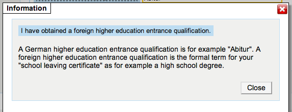 Step 15 Higher education entrance qualification Enter here data about your Higher education entrance certificate.