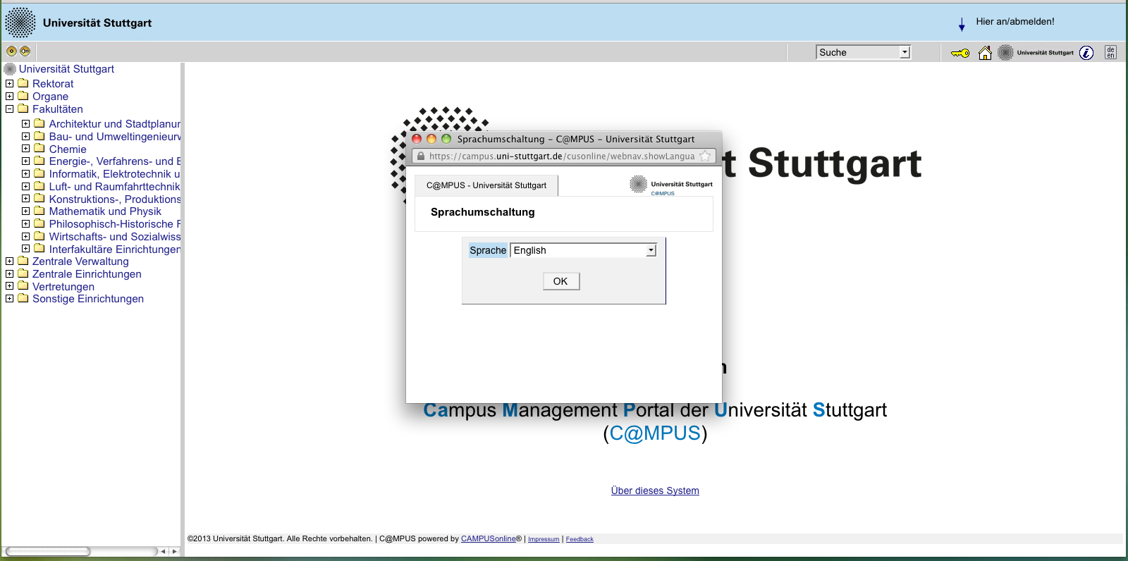 REGISTRATION Step 01 Connect to the portal Please use the link (https://campus.uni-stuttgart.de) provided on our homepage to connect to the application portal.