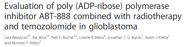 PARP INHIBITORS (PARPi) VELIPARIB-ABT-888 The 1st in vitro study (four cell lines) to investigate possible sinergy between these 3 agents and to assess the influence of MGMT promoter methylation