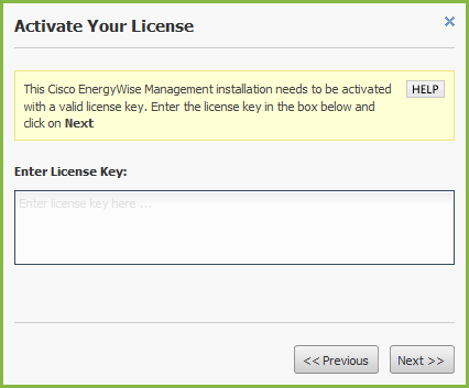 Activate Your License Enter the license key and activate Cisco EnergyWise Management. Click Next.