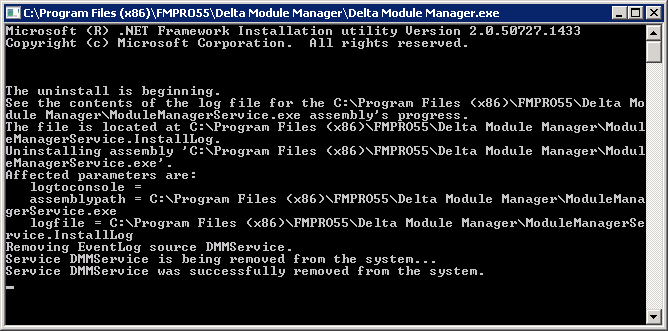 ix. A command window will flash up as above and once it has disappeared the uninstallation should be complete.