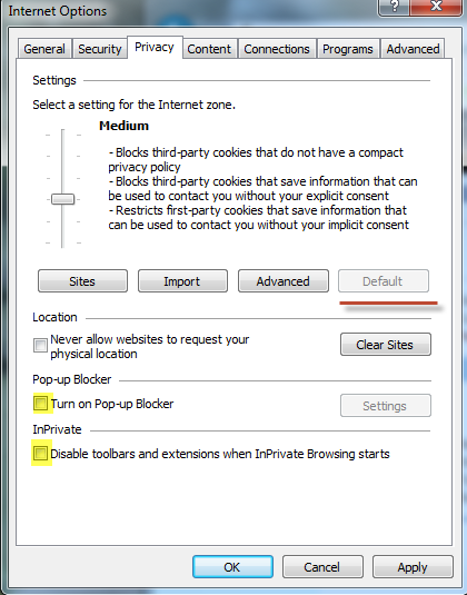 2. On the Tools menu select Internet Options, Privacy.