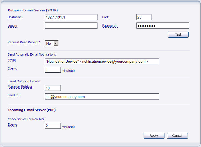 Chapter 8 - E-mail Integration Mail Settings In order for the HelpDesk E-mail Integration to process incoming and outgoing e-mails, several Mail Settings must be configured in HelpDesk.