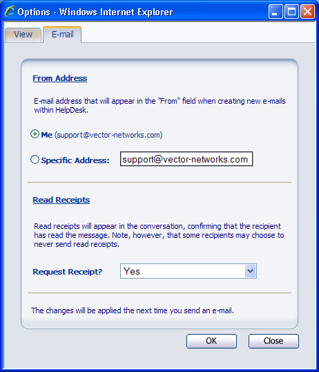 "Chapter 8 - E-mail Integration The ""From Address"" E-mail Option You have the option to use the e-mail address of your HelpDesk user account or any other e-mail address, when sending e-mails from Web"