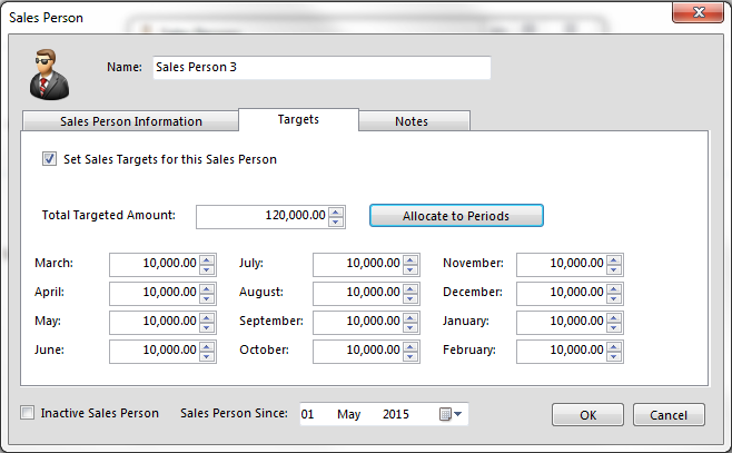 You are able to put targets to each sales person and allocate them accordingly.