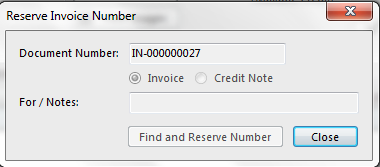 Determine if you would like to reserve an invoice or credit note number and then press the find and reserve number button to get your reserved document number: Using a Reserved Number When you are