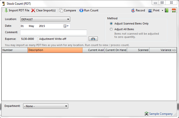 The stock count PDT (personal data terminal) processing window allows you to use a data terminal for your stock counts.