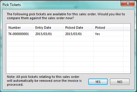 Converting Sales Orders with Pick Tickets Linked to Them When you convert a sales order to an invoice, and that sales order has a picking ticket attached to it, you will see the following